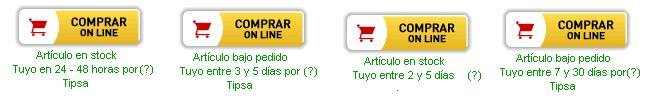 Plazos de entrega segun el tipo de producto y si está o no en stock